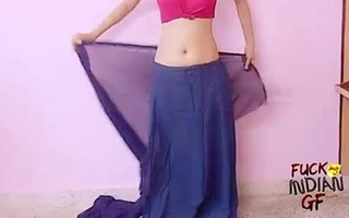 young indian wife teaching however take wear saree