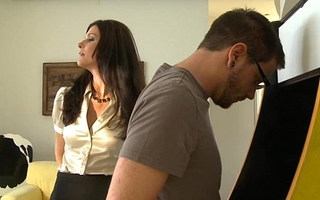 Stockinged mom India Summer gets fucked and facialized